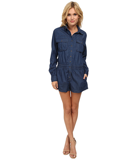 Blank NYC - Blue Long Sleeve Romper in Living Dead Girl (Living Dead Girl) Women's Jumpsuit & Rompers One Piece