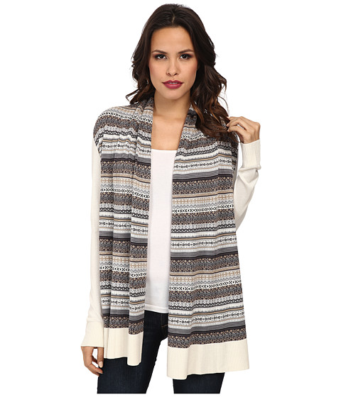 kensie - Drapey Sweater Cardigan (White Multi) Women