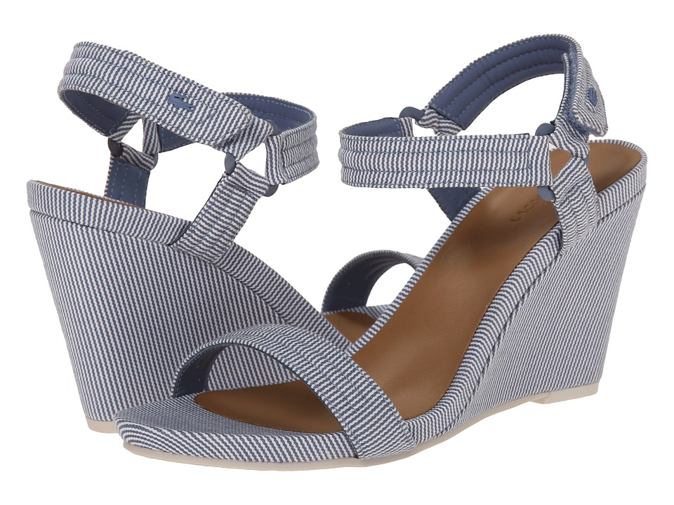 Lacoste - Karoly 2 (Blue/Off White) Women's Wedge Shoes