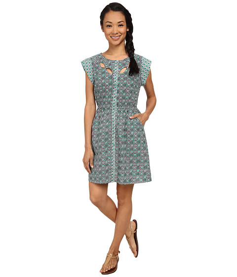 Angie - Button Up Cap Sleeve Dress (Turquoise) Women's Dress