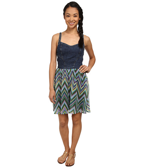 Angie - Denim Studd Dress (Blue) Women's Dress