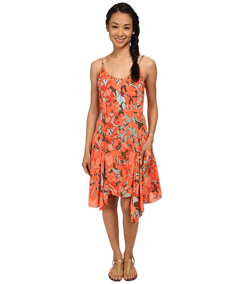 Angie - Hanky Hem Spaghetti Strap Dress (Orange) Women