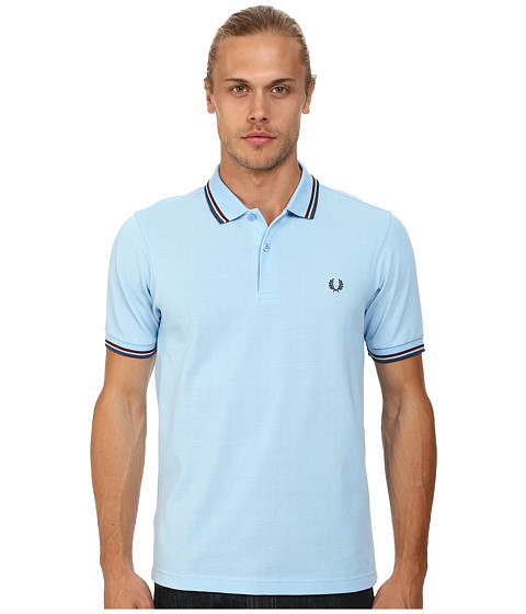 Fred Perry - Slim Fit Twin Tipped Fred Perry Polo (Sky Blue/Port/Indigo) Men's Short Sleeve Knit