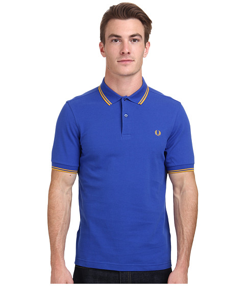 Fred Perry - Slim Fit Twin Tipped Fred Perry Polo (Regal/Mustard) Men's Short Sleeve Knit