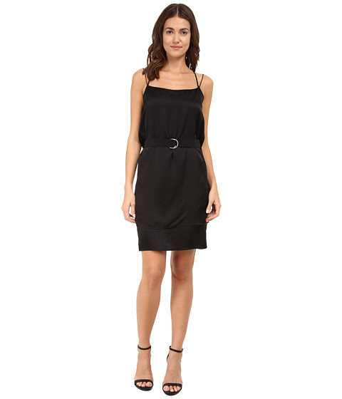 HELMUT LANG - Mere Silk Belted Silk Dress (Black) Women's Dress