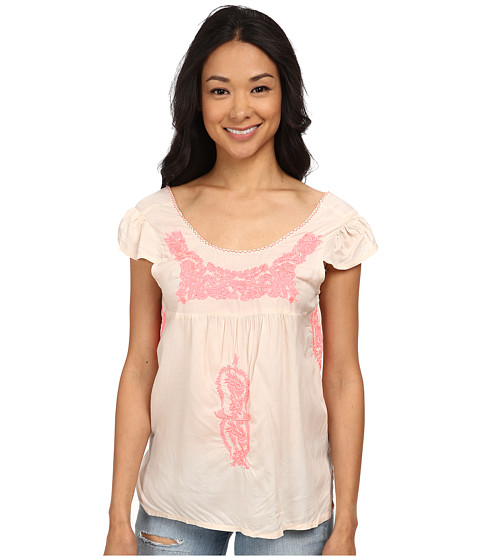 Angie - Cap Sleeve Embroidered Neon Top (Sand) Women's Clothing