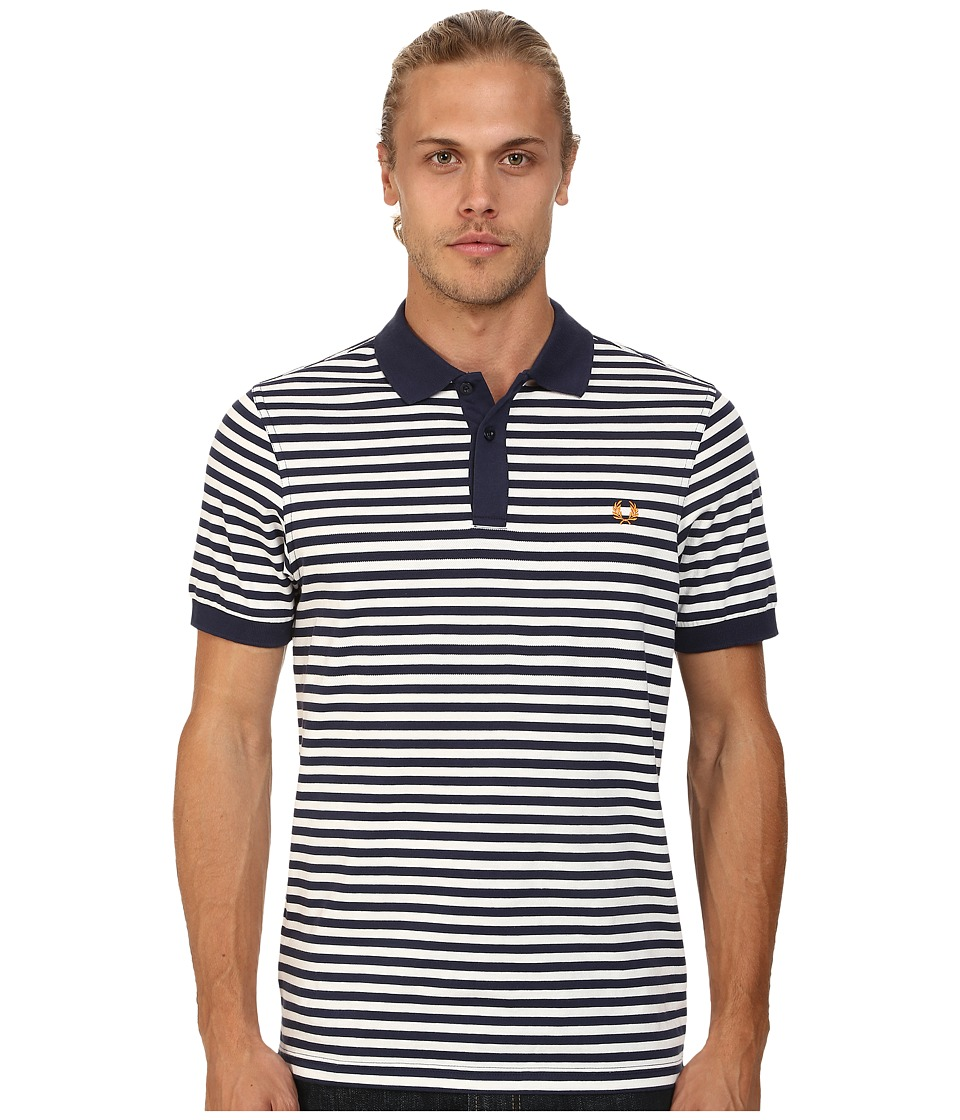 Fred Perry - Fine Stripe Pique and Jersey Shirt (Carbon Blue) Men's Short Sleeve Knit