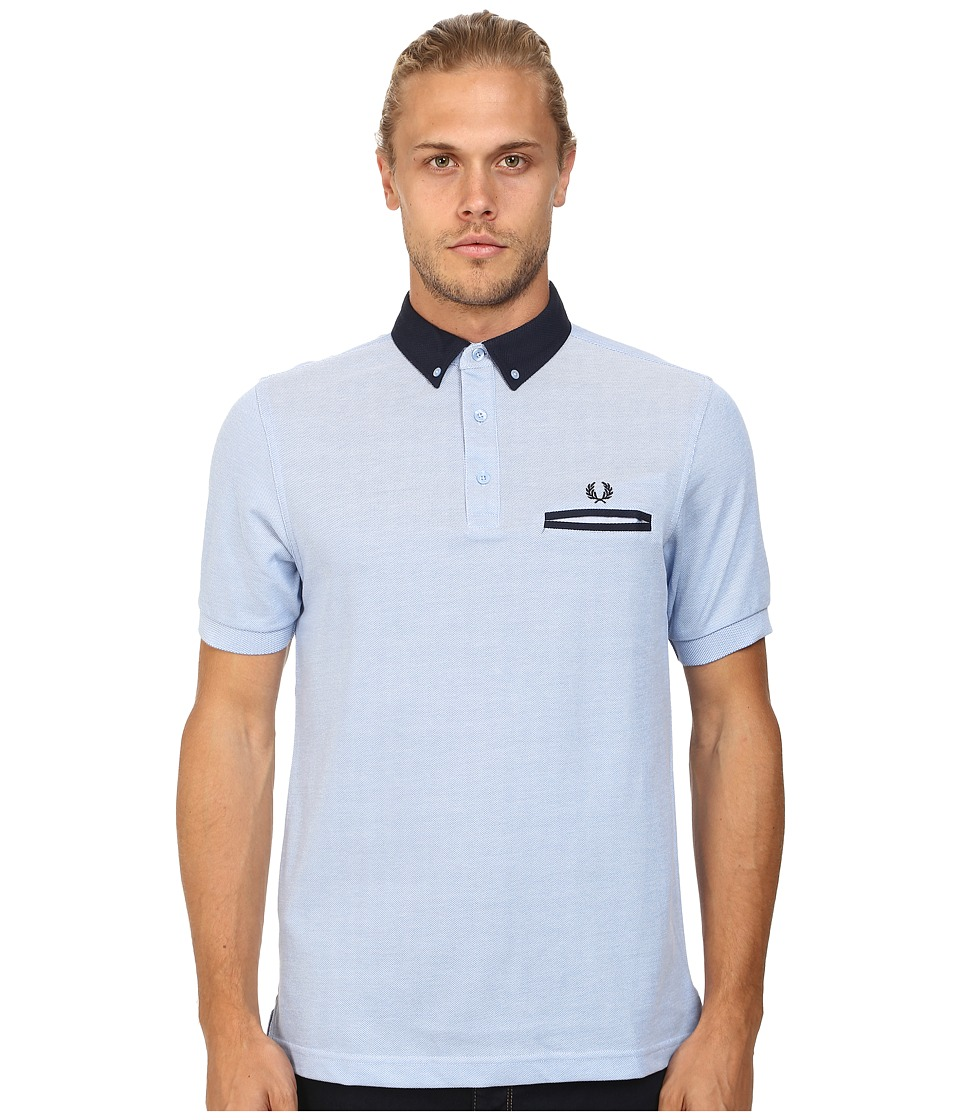 Fred Perry - Woven Trim Pique Shirt (Light Smoke Oxford) Men's Short Sleeve Knit