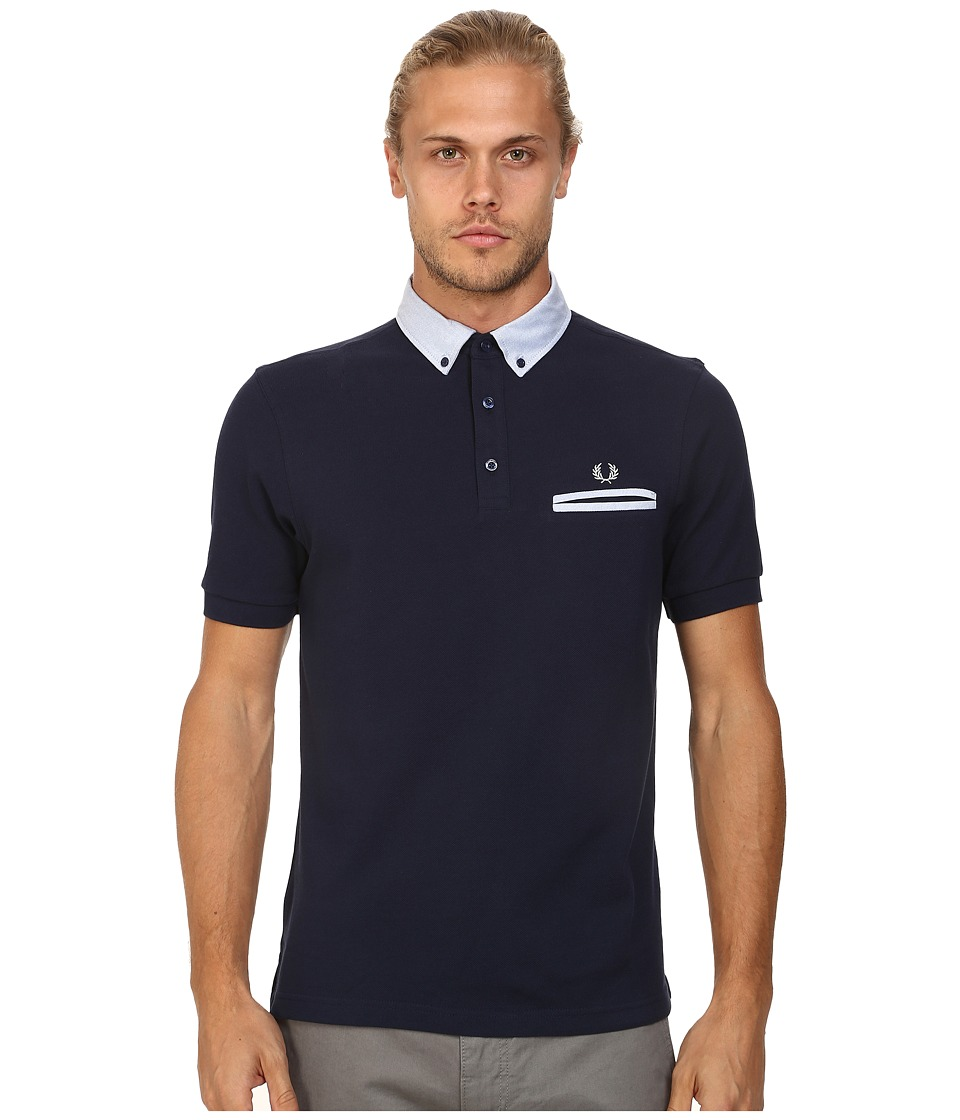 Fred Perry - Woven Trim Pique Shirt (Blue Granite) Men's Short Sleeve Knit