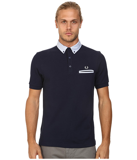 Fred Perry - Woven Trim Pique Shirt (Blue Granite) Men