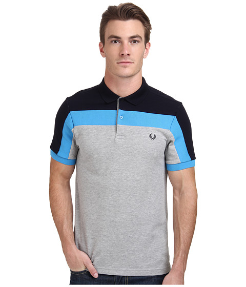 Fred Perry - Panelled Pique Shirt (Marl Grey) Men's Clothing