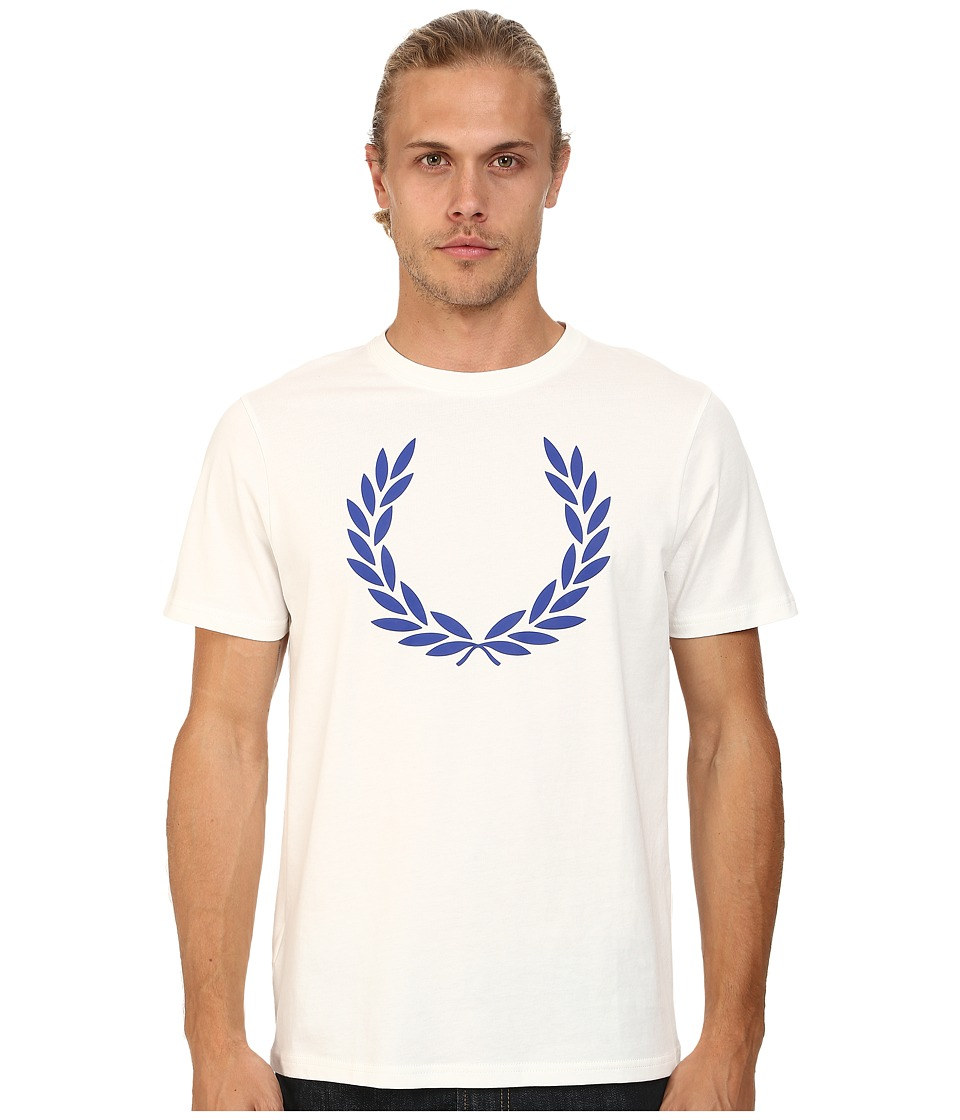 Fred Perry - Laurel Print T-Shirt (Snow White/Graphic Blue) Men's T Shirt