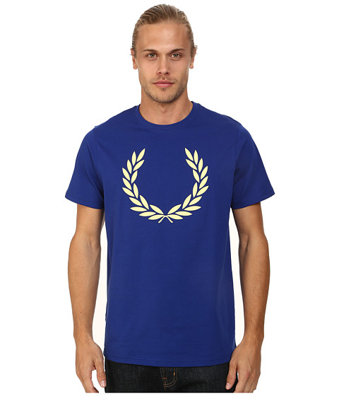 Fred Perry - Laurel Print T-Shirt (Graphic Blue/Soft Yellow) Men