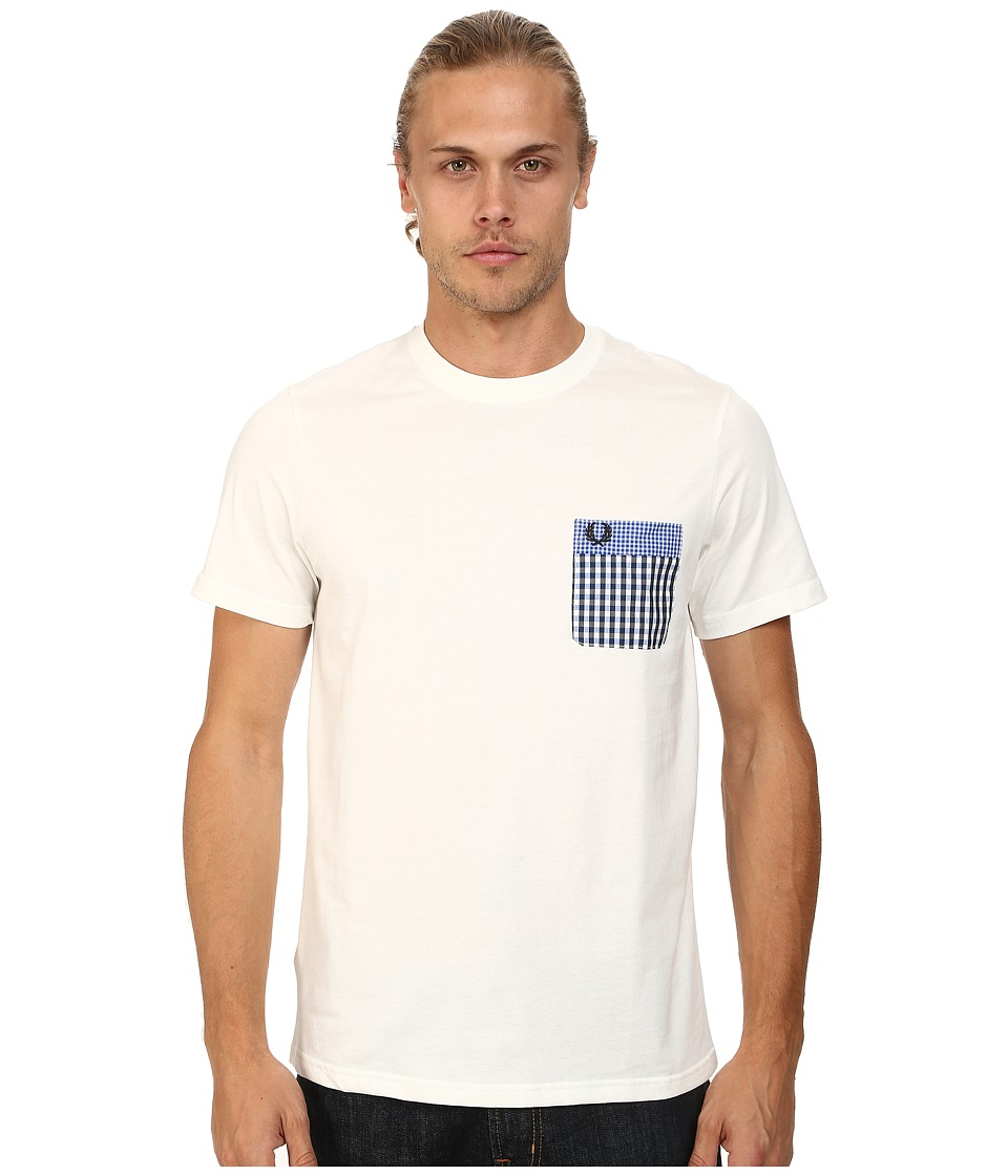 Fred Perry - Double Gingham Trim T-Shirt (Snow White) Men's T Shirt