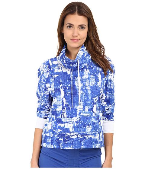 HELMUT LANG - Scriber Print Villous Sweatshirt (Trac Blue Multi) Women's Sweatshirt