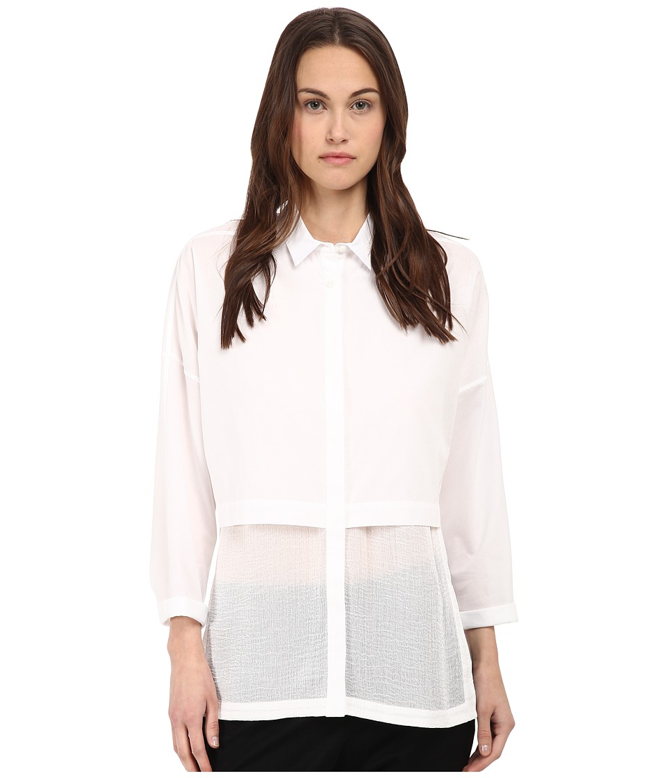 HELMUT LANG - Lawn Cotton Layered Cotton Shirt (White) Women's Long Sleeve Button Up