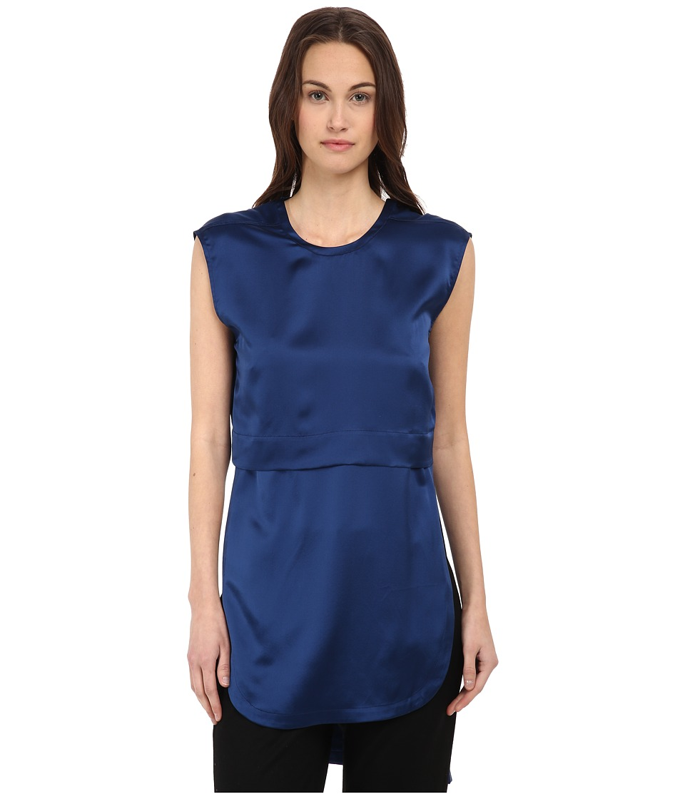 HELMUT LANG - Mere Silk Layered Top (Indigo) Women's Blouse