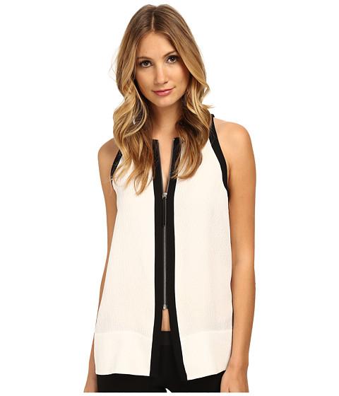 HELMUT LANG - Tissue Silk Zip Front Top (Optic White) Women's Blouse