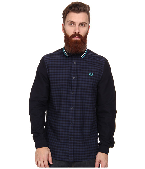Fred Perry - Knitted Collar Gingham Panel Shirt (Navy) Men