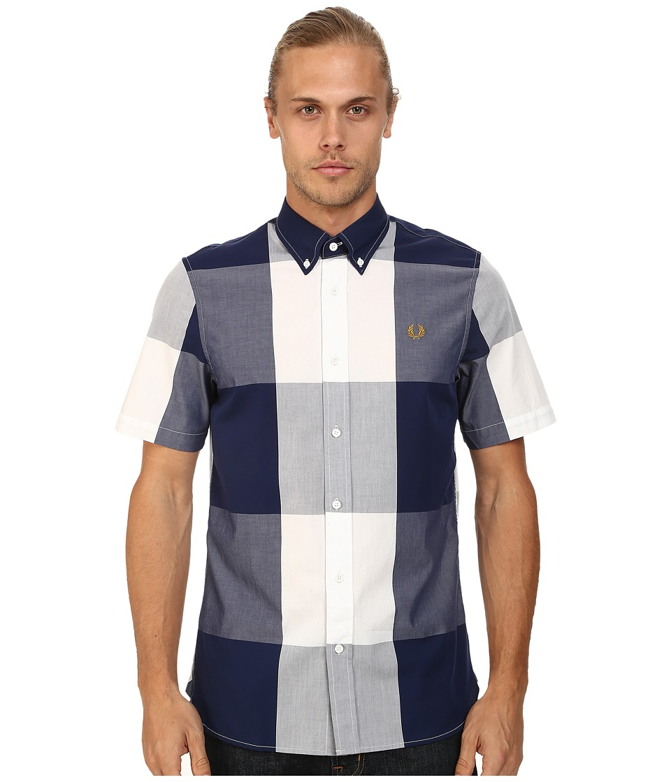 Fred Perry - Magnified Gingham Shirt (French Navy) Men's Short Sleeve Button Up