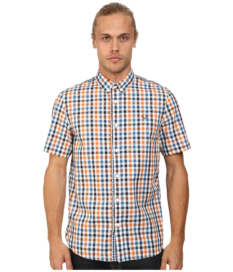 Fred Perry - Three Colour Gingham Shirt (Ochre Orange) Men's Short Sleeve Button Up