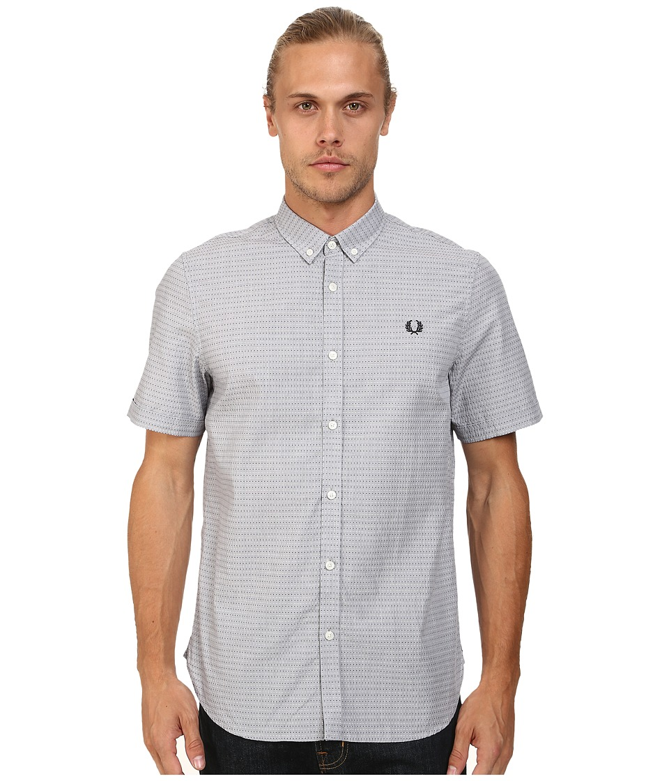 Fred Perry - Polka Dot Shirt (Industrial Grey) Men's Short Sleeve Button Up