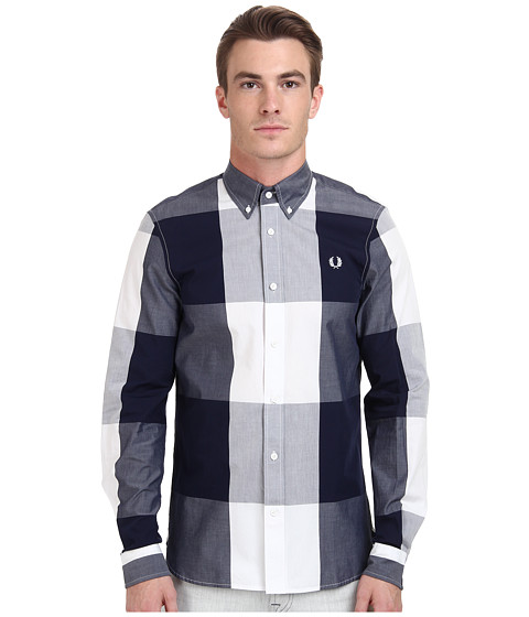 Fred Perry - Magnified Gingham Shirt (Blue Granite) Men's Clothing