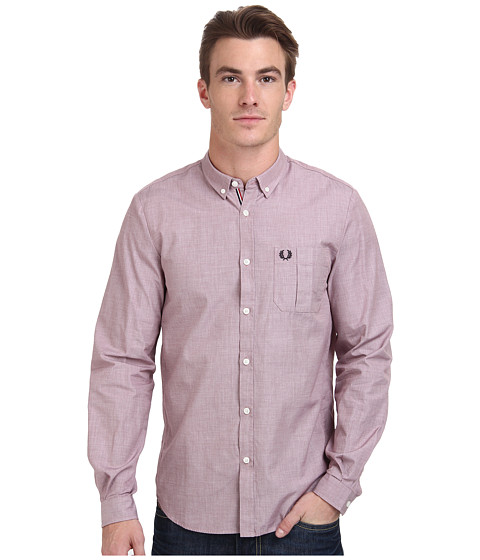 Fred Perry - End On End Shirt (Port) Men's Clothing
