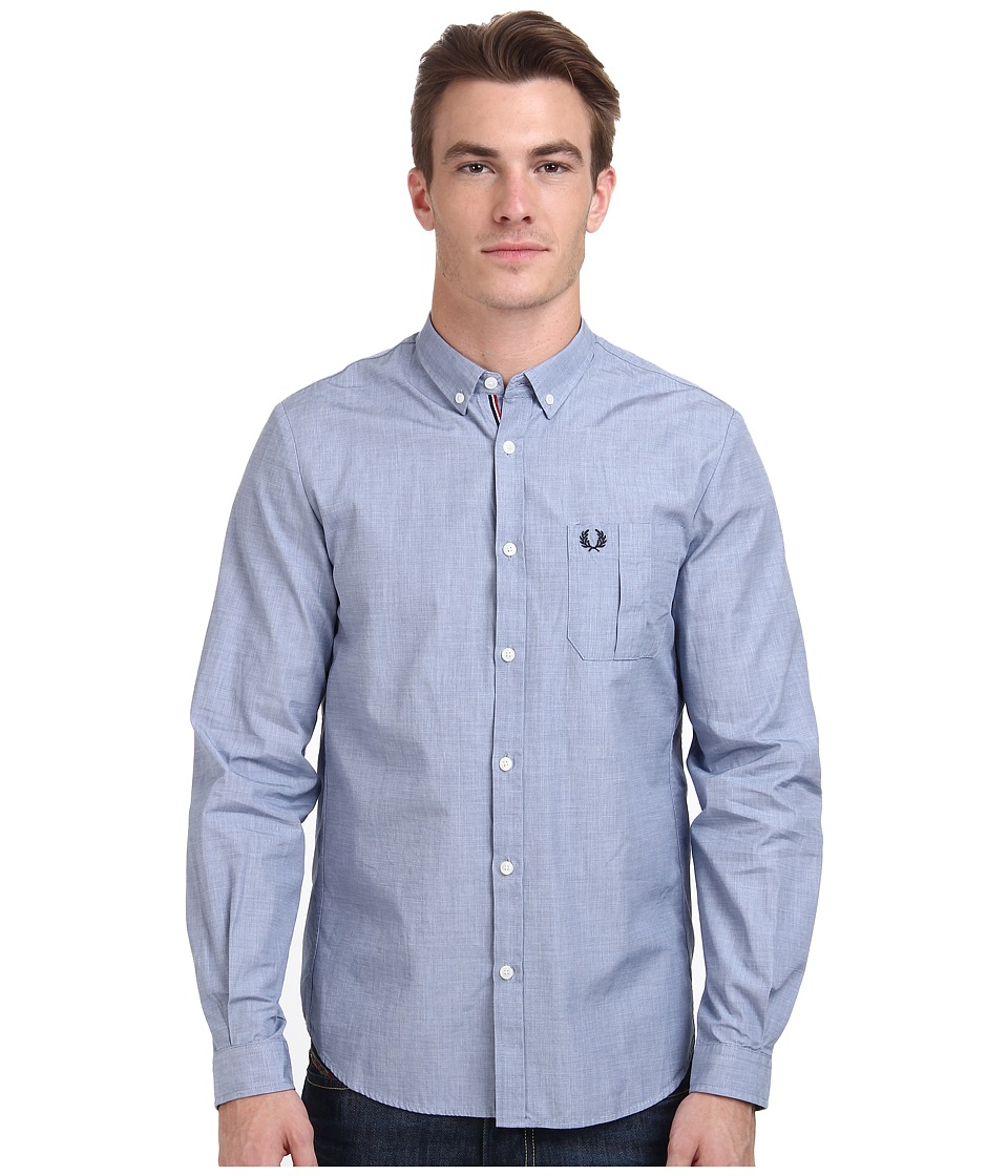 Fred Perry - End On End Shirt (Royal) Men's Clothing