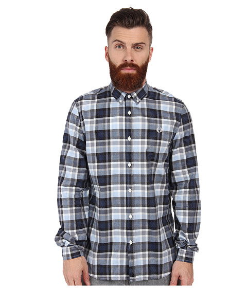 Fred Perry - Engineered Polka Dot Check Shirt (Navy) Men's Long Sleeve Button Up