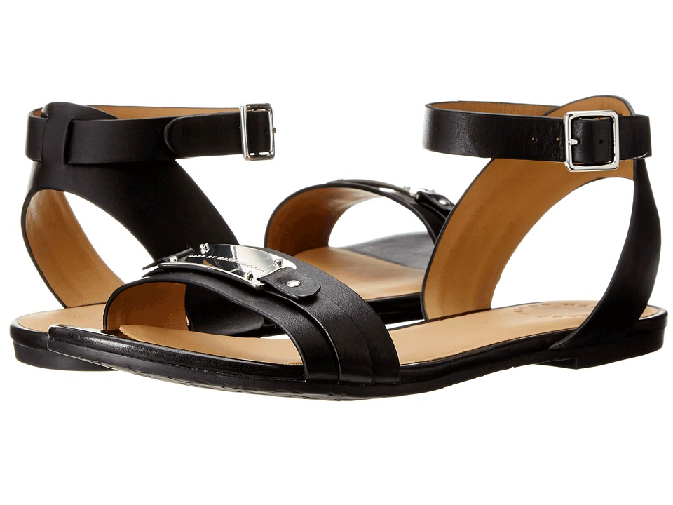 Marc by Marc Jacobs - Leather Flat Sandals (Black) Women's Shoes
