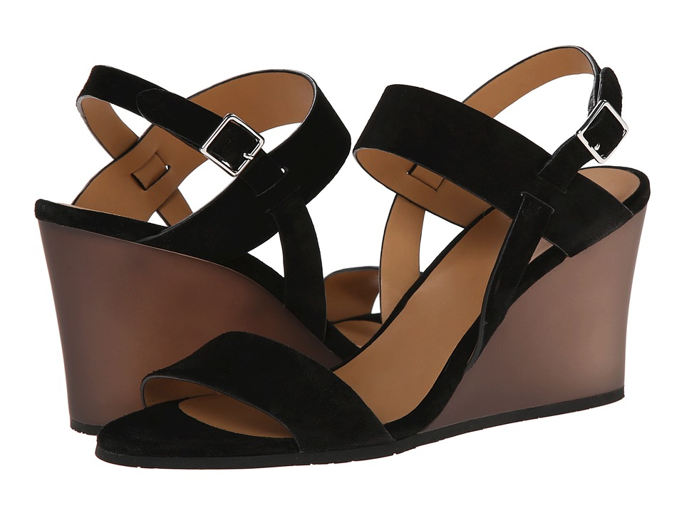 Marc by Marc Jacobs - Suede Wedge Sandals (Black) Women's Shoes