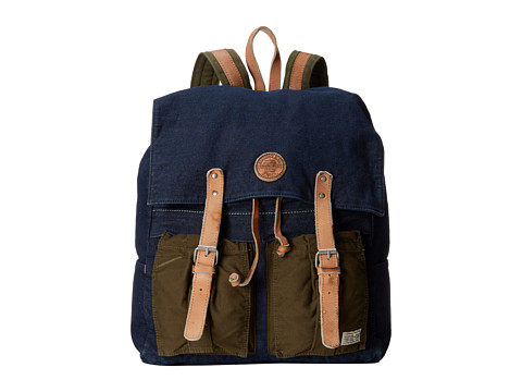 Scotch & Soda - Denim Leather Backpack (Navy) Backpack Bags