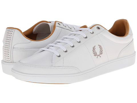 Fred Perry - Hopman Leather (White/1964 Silver) Men's Lace up casual Shoes