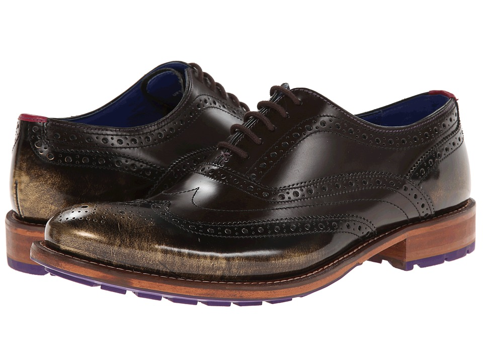 Ted Baker - Rissh 2 (Brown/Gold High Shine) Men's Lace up casual Shoes