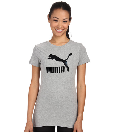 PUMA - Large Logo Tee (Light Grey Heather/Black Foil) Women