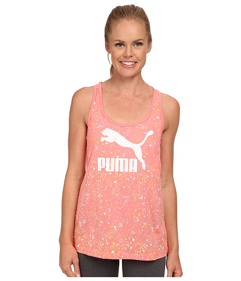 PUMA - Logo Tank (Salmon Rose) Women's Sleeveless