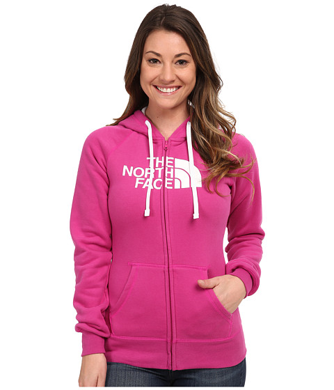 The North Face - Half Dome Full Zip Hoodie (Luminous Pink/TNF White) Women's Fleece