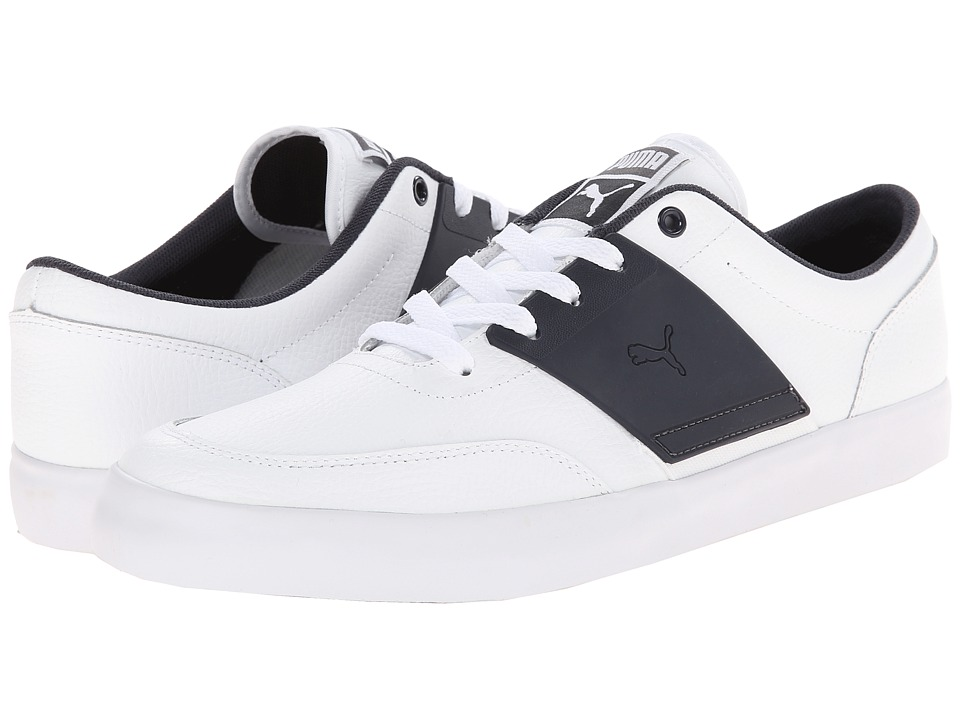 PUMA - El Ace 4 L (White/New Navy) Athletic Shoes