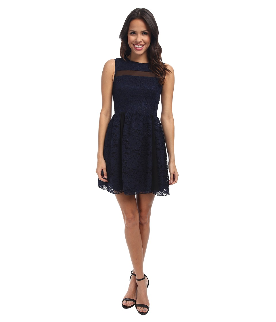 ABS Allen Schwartz - Lace Dress w/ Mesh Contrast (Navy) Women's Dress