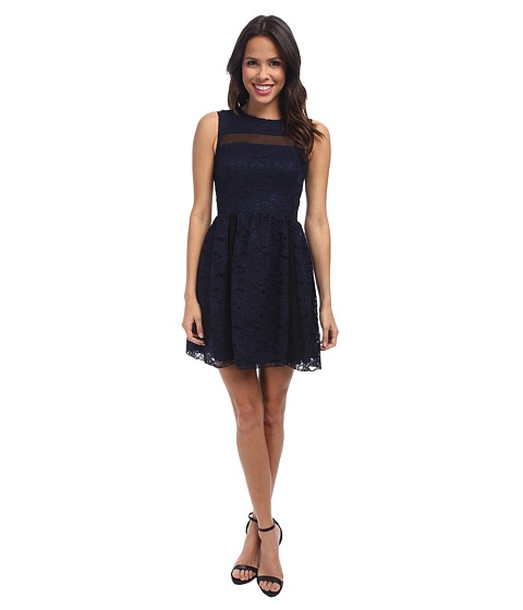 ABS Allen Schwartz - Lace Dress w/ Mesh Contrast (Navy) Women's Dress