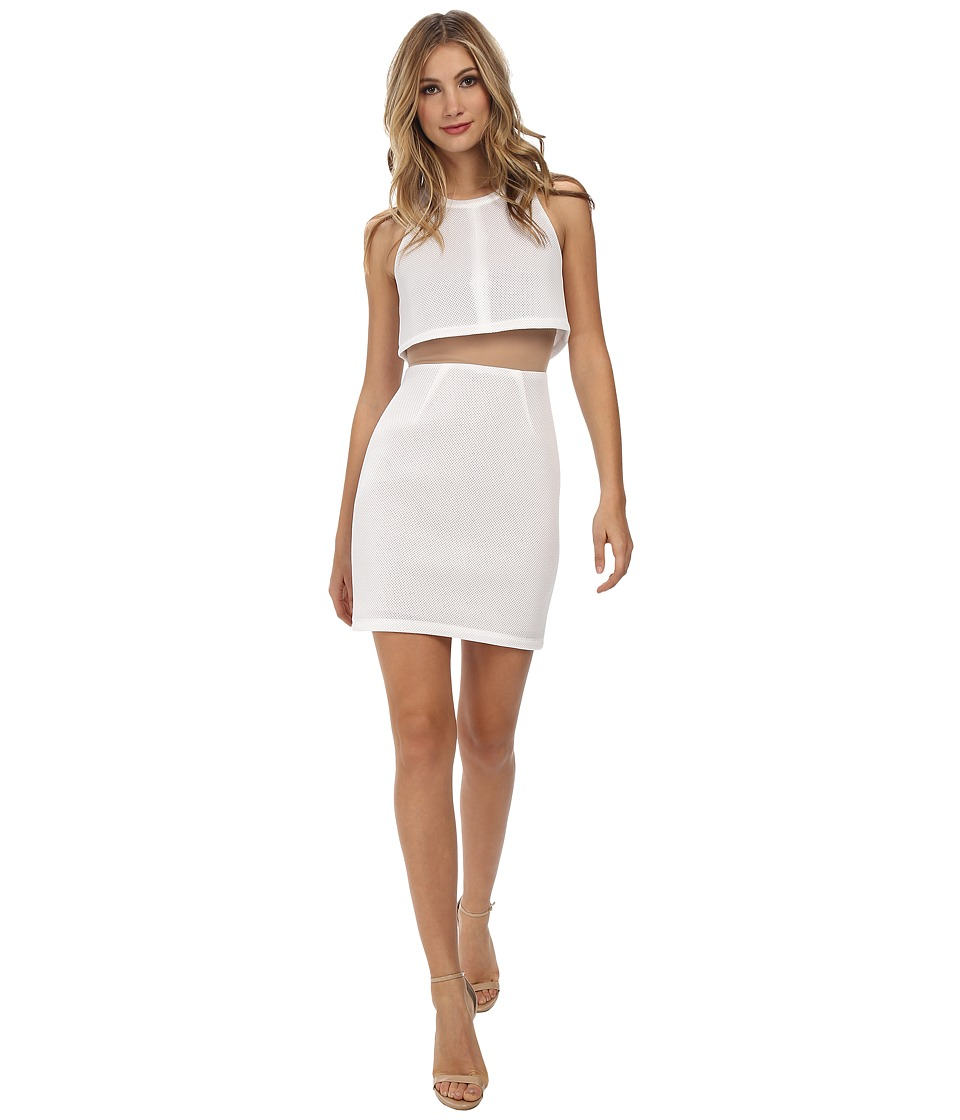 ABS Allen Schwartz - Cropped Halter Overlay Dress (Off White) Women's Dress