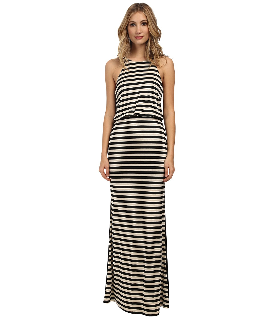 ABS Allen Schwartz - Halter Maxi Dress w/ Solid Back (Black/Beige) Women