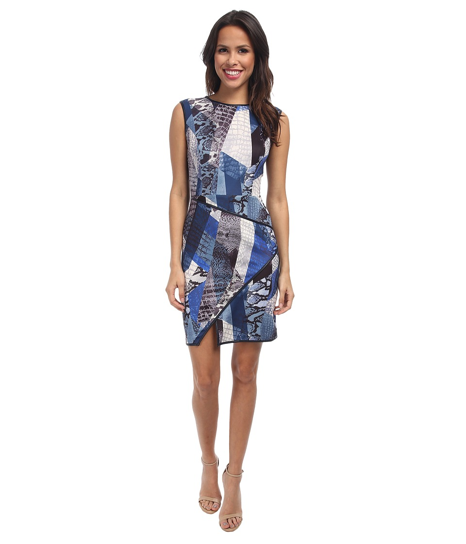 ABS Allen Schwartz - Digital Print Scuba Dress w/ Asymmetric Hem (Blue) Women's Dress