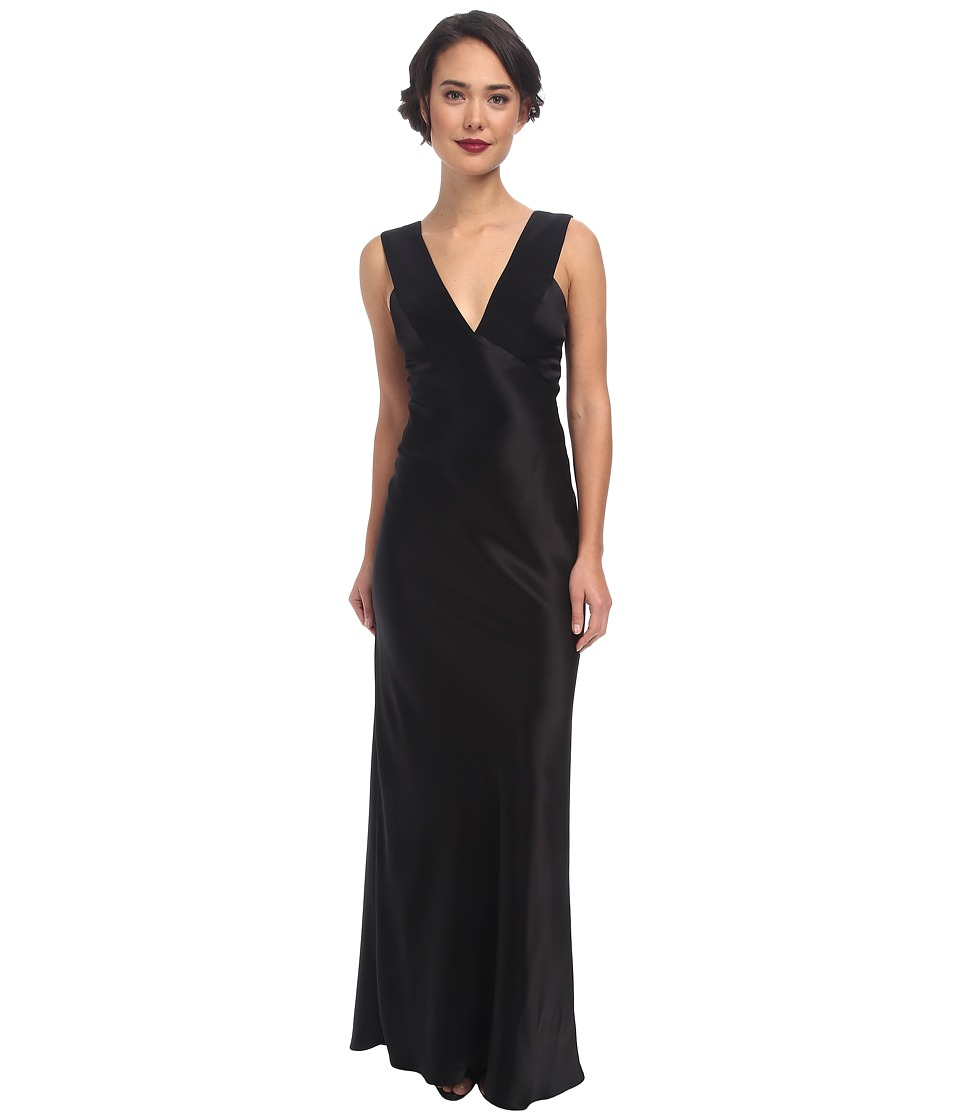 ABS Allen Schwartz Deep V Bias Cut Gown with Back Cut Out (Black) Women