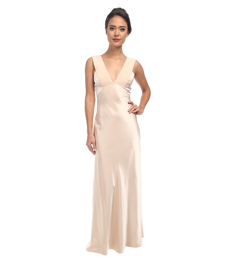 ABS Allen Schwartz Deep V Bias Cut Gown with Back Cut Out (Blush) Women