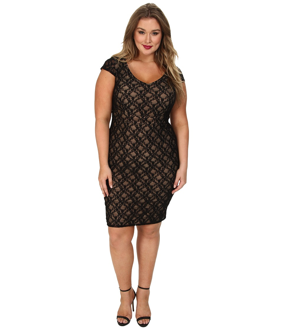 ABS Allen Schwartz - Plus Size Deep V-Neck Lace Sheath (Black) Women's Dress
