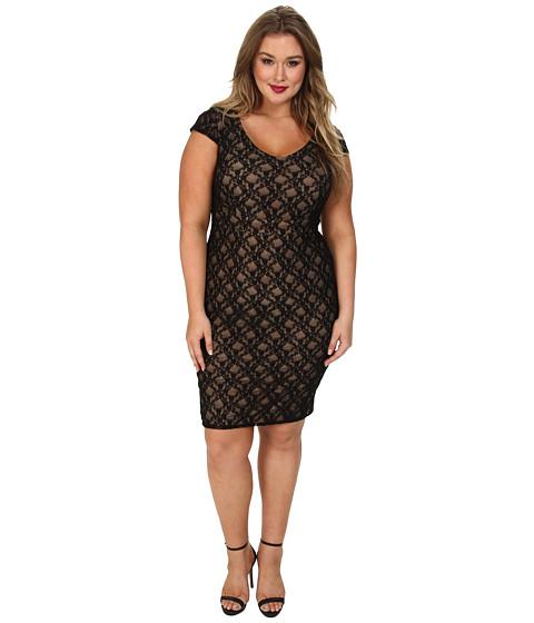 ABS Allen Schwartz - Plus Size Deep V-Neck Lace Sheath (Black) Women's Dress