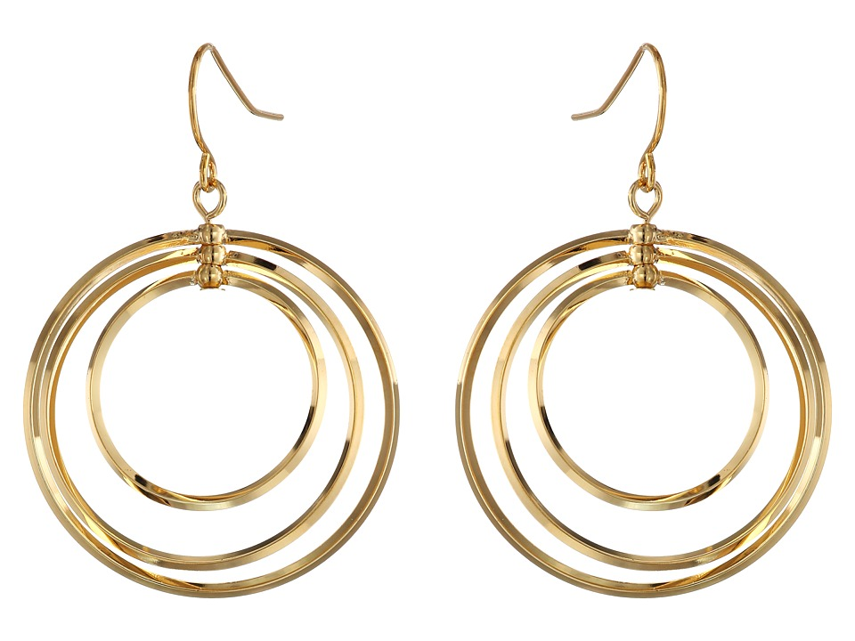 LAUREN Ralph Lauren - Small Round Bevel Ring Gypsy Hoop Earrings (Gold) Earring