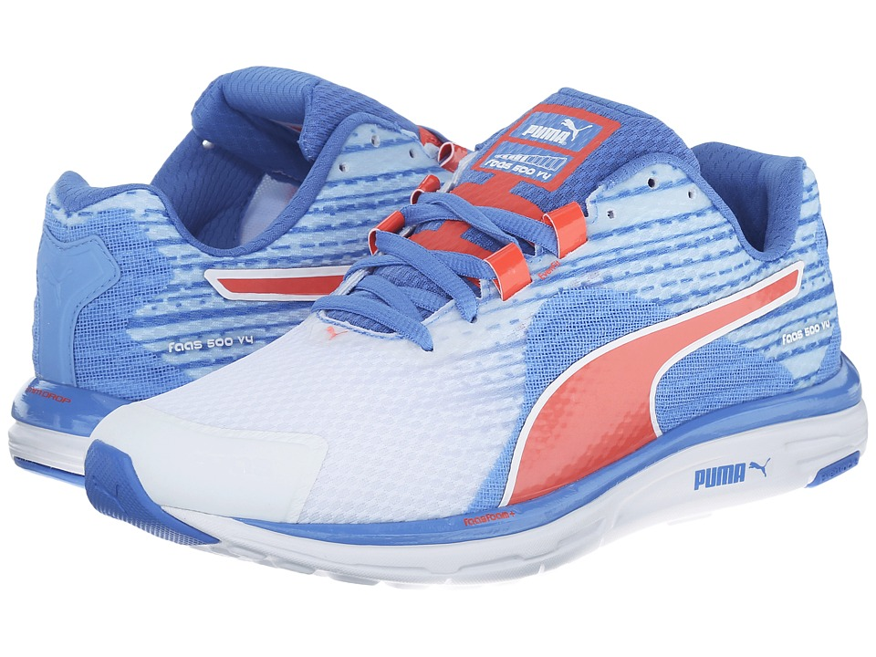 PUMA - Faas 500 v4 (White/Ultramarine/Clematis Blue/Hot Coral) Women's Shoes